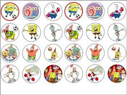 spongebob cake toppers 24 x spongebob edible rice wafer paper cup cake bun toppers