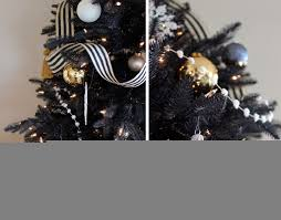 christmas black christmas tree and whiterations with ornaments