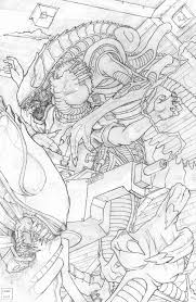 aliens overrun colonial marine checkpoint pinup u2013 pencils u2013 jason