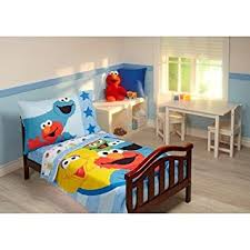 Elmo Bedding For Cribs Sesame Friends 4 Toddler Bedding