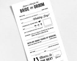 words of wisdom for and groom cards wedding mad libs printable template wedding keepsake
