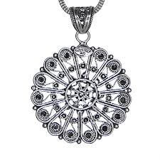 design sterling silver necklace images Sterling silver filigree round roman design pendant jpg