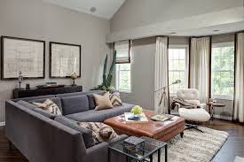 Windows Family Room Ideas Tufted Sectional Sofa Family Room Contemporary With Double Hung
