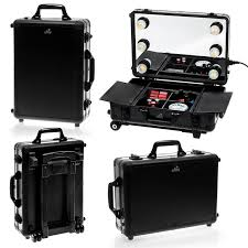 rolling makeup case with lighted mirror amazon com shany cosmetics mini studio studio togo makeup case
