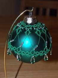 tatted beaded christmas ornament needle tatting lace teal u0026 gold