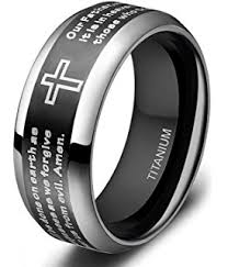 can titanium rings be engraved two tone black titanium prayer ring band sizes 7 to 13