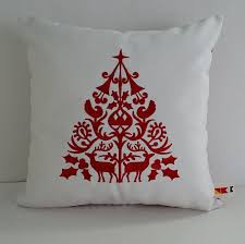 scandinavian christmas tree embroidered pillow cover 14