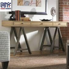 Modern Minimalist Computer Desk American Country Vintage Wrought Iron Wood Modern Minimalist Desk