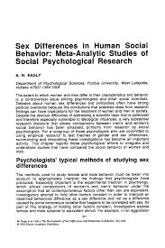 differences in human social behavior meta analytic studies of