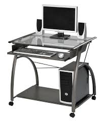 Black Metal And Glass Computer Desk by Amazon Com Acme 00118 Vincent Computer Desk Silver Kitchen U0026 Dining