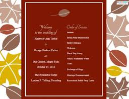 fall wedding programs fall wedding programs