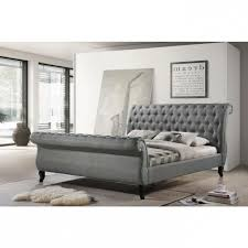 Upholstered Platform Bed King Grey Upholstered Platform Bed King With Channel Tufted Headboard