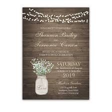jar wedding invitations rustic jar wedding invitation with babys breath