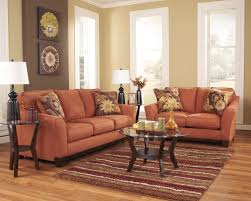 living room orange sofa and loveseat for minimalist living room decor