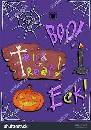 illustration featuring famous halloween icons expressions stock