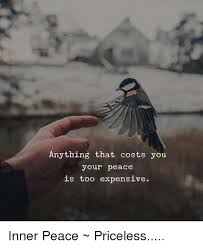 Inner Peace Meme - anything that costs you your peace is too expensive inner peace