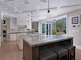 Kitchen With Two Islands Neutral Cape Cod Style Home With Open Layout Interior For Life