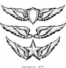 royalty free clip vector logos of grayscale wing badges with a