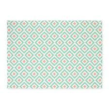 Ikat Kitchen Rug Amazon Com Cafepress Mint Coral Ikat Pattern Decorative Area