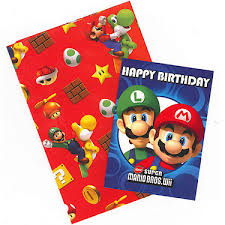 mario wrapping paper gem mario wrapping paper birthday card and gift tags pack