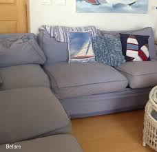 blue canvas slipcover for big sectional sofa the slipcover maker