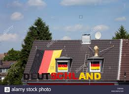 roof decorations essen germany world cup decorations on the roof of a private