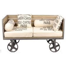 canapé industriel canapé sofa industriel sur roues métal avec oreillers traversin coussins