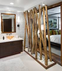 faux bamboo chinese powder room tropical with white beadboard