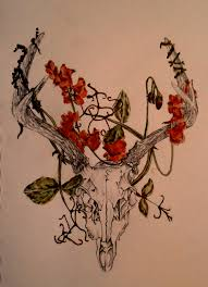 watercolour sketch of a deer skull with flowers art inspiration