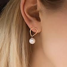 pearl earrings stud teardrop stud with hanging pearl earrings gold filled 14 k gold
