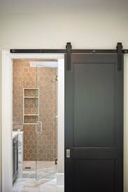Shower Room Door Bathroom With Black Sliding Door On Rails And Taupe Hex Tiles