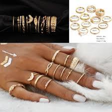 ring set 12 pcs set gold midi finger ring set vintage boho knuckle