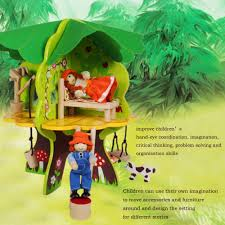 Little Treehouse Early Learning Center Amazon Com Deluxe Wooden Treehouse Playset Tree House With 2