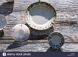 old dishes decoration outside of house facade in lajes pico