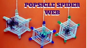 Halloween Crafts With Construction Paper Halloween Craft Popsicle Spider Web Popsicle Stick Crafts