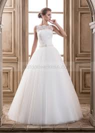 illusion neckline wedding dress a line illusion neckline buttons back ivory lace tulle wedding dress