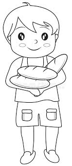 Boy With Bread Coloring Page Stock Illustration Illustration Bread Coloring Page