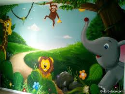 fresque chambre b chambre jungle fille avec chambre b b animaux de la jungle deco