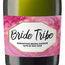 for bridal shower tribe personalized mini chagne bottle label stickers for