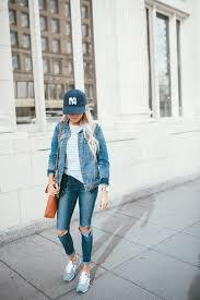 Light Jean Jacket Cute Casual Weekend Yankee Hat Light Blue Striped Top