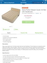 Aerobed Queen Air Mattress With Headboard by Serta Perfect Sleeper Queen Air Bed With Headboard 65 Awesome