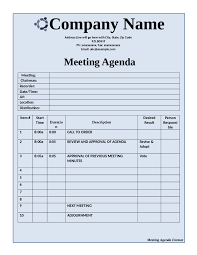 basic meeting agenda template template newsletter word free
