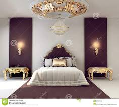 luxury double bedroom with golden furniture royalty free stock