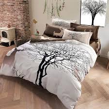 designer deer and tree bedding set king size brushed cotton
