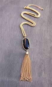 gold tassel necklace images Right as rain black stone gold fringe tassel pendant necklace jpg