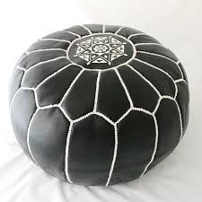 Leather Moroccan Ottoman by Leather Ottoman Black With White Braid Metroscope Moroccan