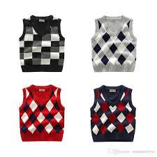 fashion sweater vest unisex cotton plaid knitting wool