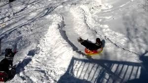homemade snow tube track in backyard youtube