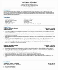 Assistant Marketing Manager Resume Sample 46 Professional Marketing Resume Free U0026 Premium Templates