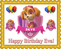 paw patrol skye 1 edible birthday cake cupcake topper u2013 edible